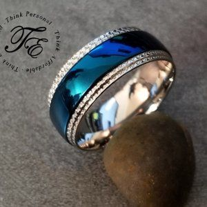 Blue Domed Xband Promise Wedding Ring